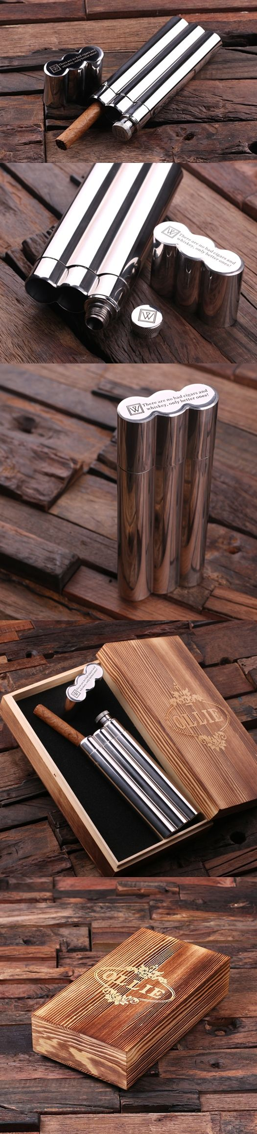 stainless steel cigar holderflask and optional wood box - Cigar Holder