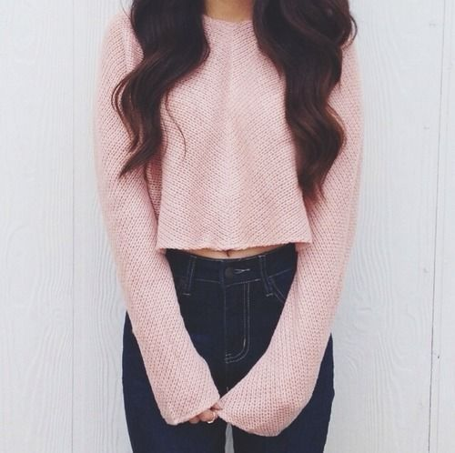 high waisted pants with an oversized crop sweater = adorbs