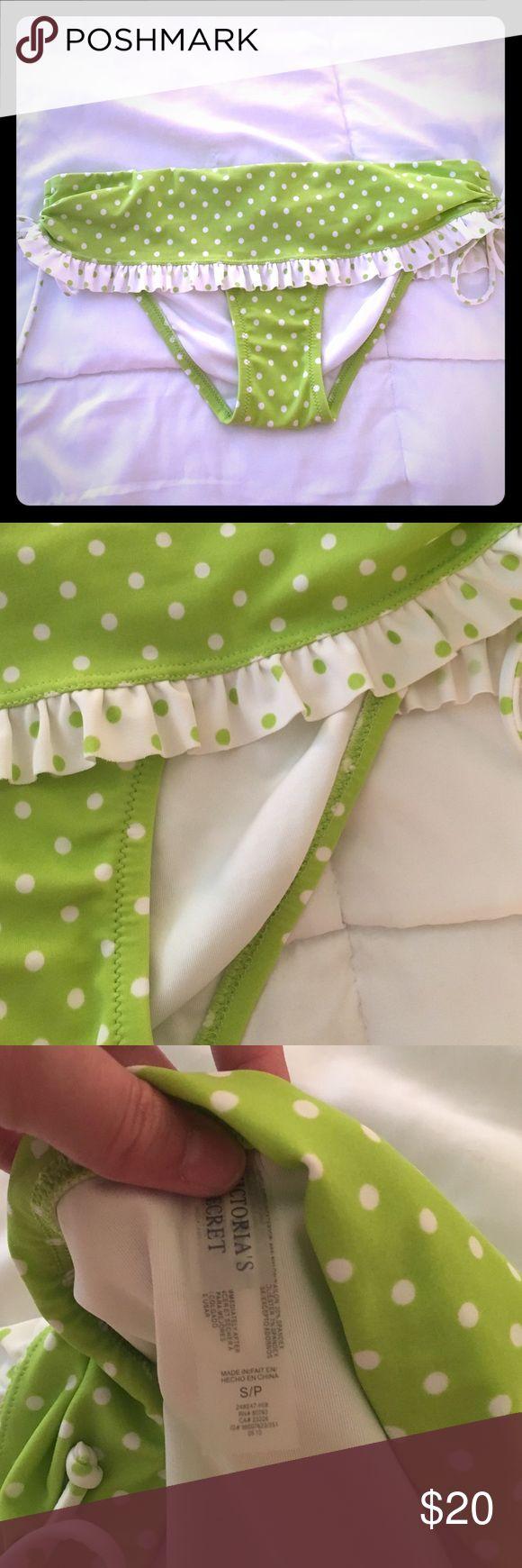 Size S VS Polka Dot Ruffle Bikini Bottom Like new! No flaws! Cute citrus green with ruffles! NO TRADES. NO MODELING. PRICE IS FIRM. Victoria's Secret Swim Bikinis