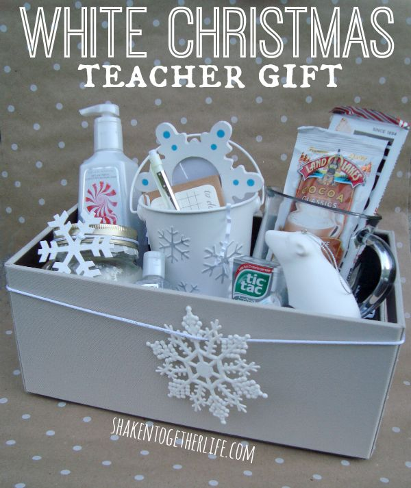 Dreaming of a White Christmas teacher gift! Goodies stuffed in a Rubbermaid Bento Organizer at shakentogetherlife.com