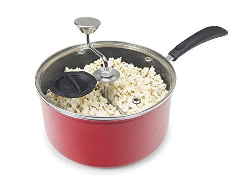 Zippy Pop Red Stovetop Popcorn Popper with Glass Lid, 5-1/2 Quart Capacity, from Amazon