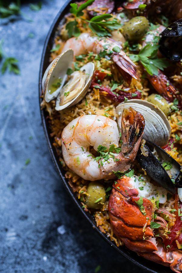 Skillet Grilled Seafood and Chorizo Paella by halfbakedharvest #Paella #Seafood #Chorizo