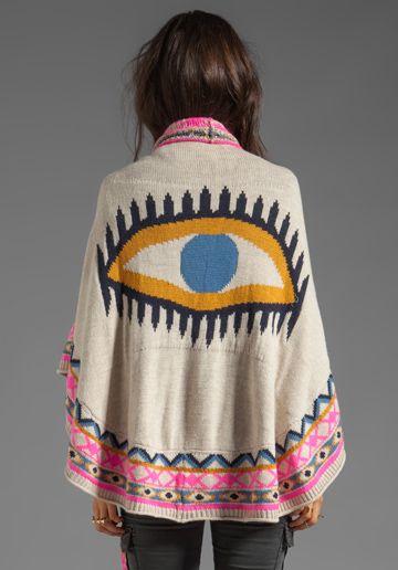 MARA HOFFMAN Eye Shawl in Oat - Sweaters