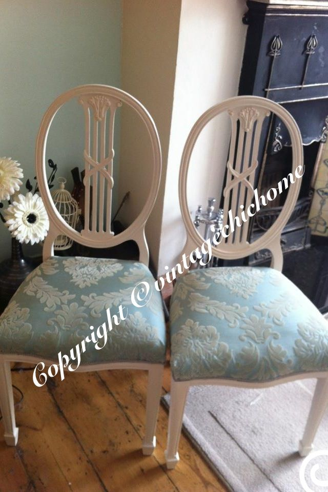 Stunning pair of shabby chic country duck egg damask violin back chairs  Www.vintagechichome.co.uk www.facebook.com/VintageChicHomeShabbyChicFurniture Twitter - @Vintage Chic Home www.tumblr.com/blog/vintagechichomeuk Google plus - vintagechichomefurniture  Instagram - Vintage Chic Home