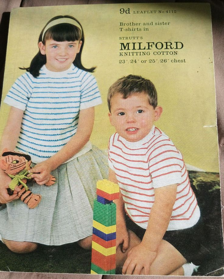 Child's T-Shirts in Cotton vintage knitting pattern Strutt's Milford top #Milford