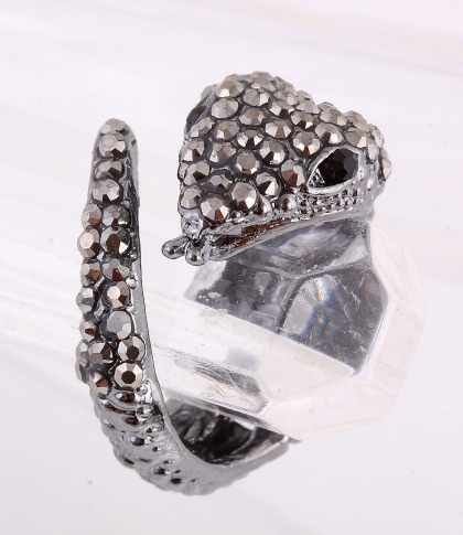 """Cuff Ring / thickness: 0.5""""H / snake / rhinestone / color: hematite / lead & nickel compliant      $8.25"""