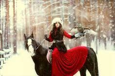 woman draped in red on horseback - Google Search
