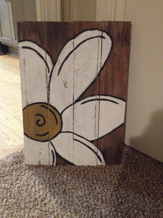 Flower painting on 100 reclaimed wood by HootnGoose on Etsy, $35.00