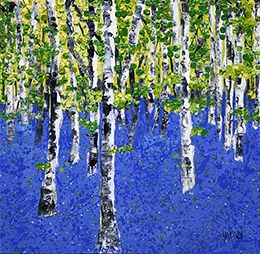 Bluebells 2, Acrylic on canvas, 24 x 24 inches