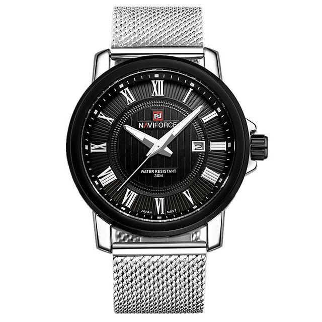 Reloj hombre 2016 Brand Men Military Watches Mesh belt Double Calendar Men Casual Quartz Watch NAVIFORCE 9052 relogio masculino