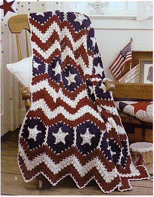 American Pride Afghans - Crochet Patterns. / Orgulho Americano Afegãos - Crochê Padrões.