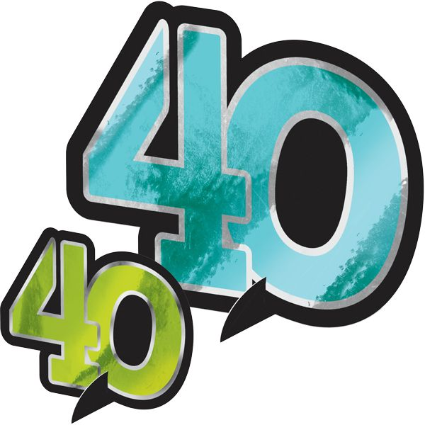 Dress up tables with these festive 40th Chevron Milestone Celebration Table Decorations! Each �40� shaped cutout includes a small stand to create a centerpiece suitable for guest tables, buffets and dessert displays. The metallic cutouts come in colors like purple, teal, blue and green to coordinate with the rest of the 40th Chevron Milestone Celebration decorations. Each package contains five cutouts measuring approximately 12 inches, five that are approximately 7 inches, and 0.5 ounces of…
