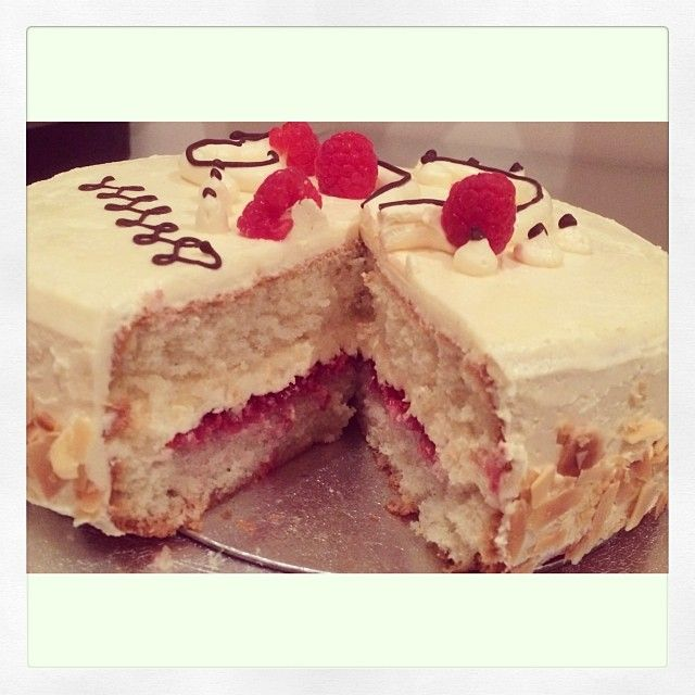 Genoise sponge layered with french buttercream and homemade raspberry jam