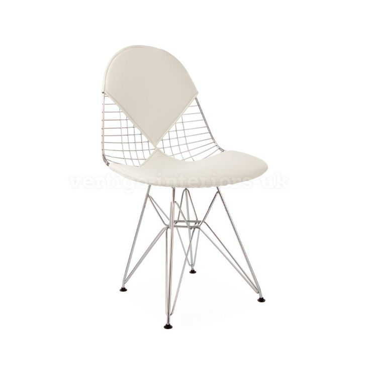 *Set of 4* High Quality Eames Style DKR Wire Bikini Dining Chair - White Seat Pad