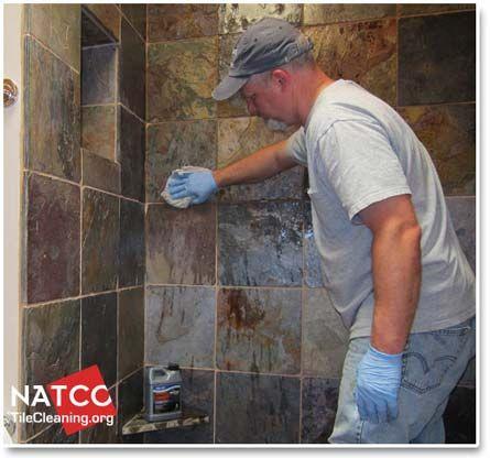 applying sealer to slate shower walls