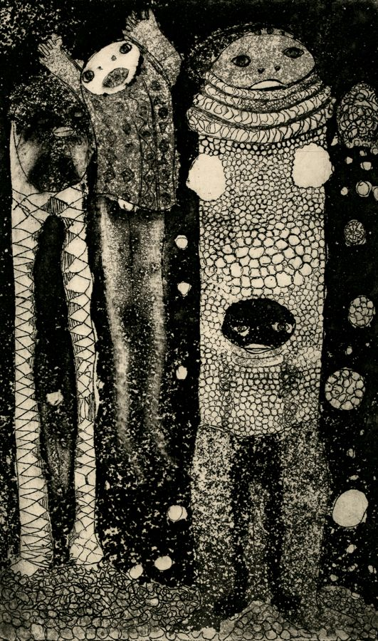 Cyprian Mpho Shilakoe (1946-1972). ARRIVAL 1969. Etching, 34 x 26cm.