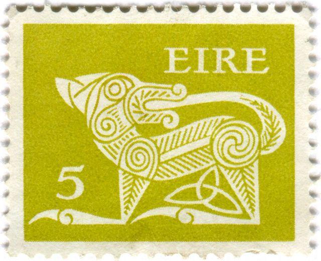 Ireland postage stamp: green Gerl c. 1971 ~ Photo by Karen Horton