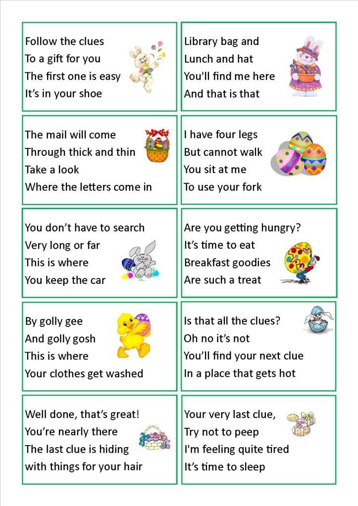 Easter Egg Hunt Clues We Have Done This A Few Times Makes It Much Harder For Older Kids To Find The Treat So Fun Wish My K