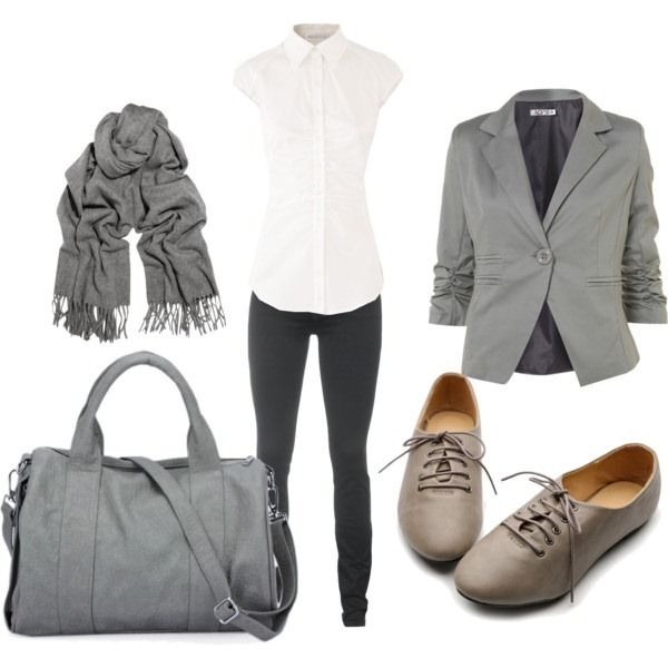 Love the skinnies with the jacket mixed with the retro flats and scarf