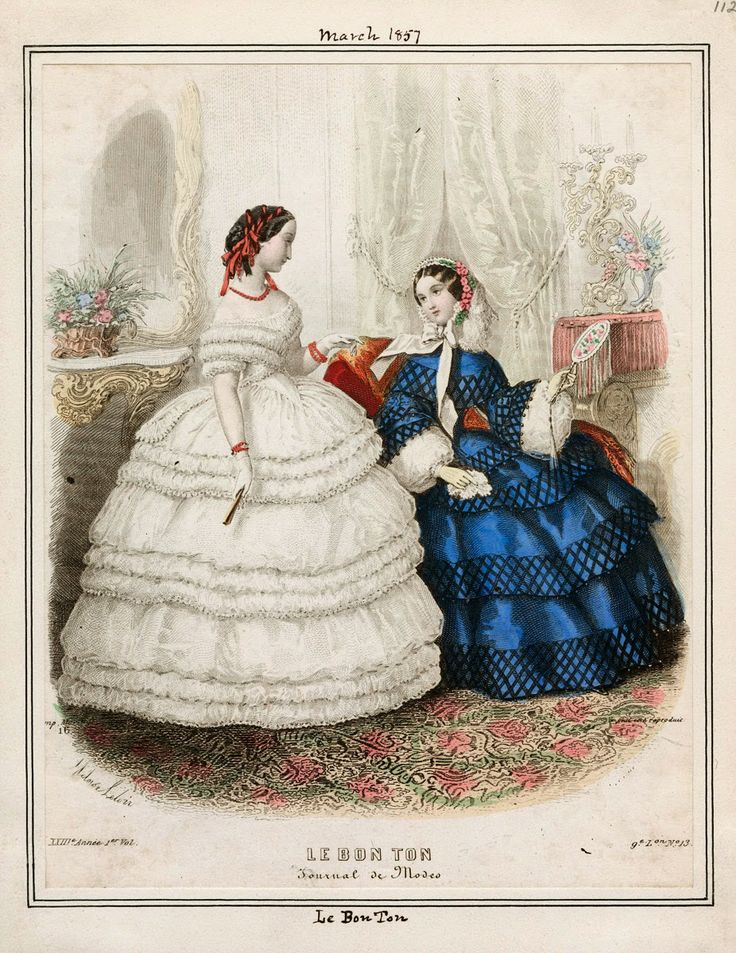 In the Swan's Shadow: Le Bon Ton, March 1857  Civil War Era Fashion Plate