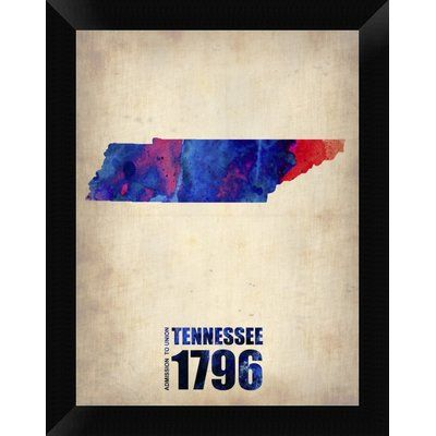 Naxart \'Tennessee Watercolor Map\' Framed Graphic Art Print on Canvas ...