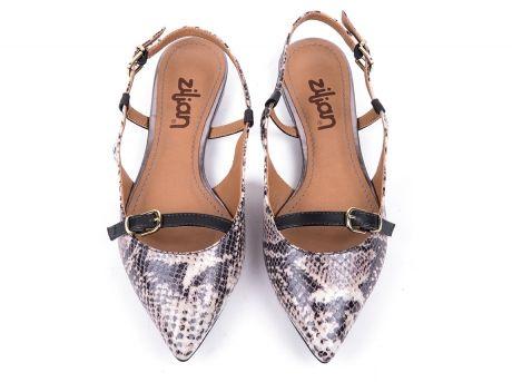 ZILIAN :: Loja Online | sapatos :: SPRING SUMMER :: Sling-back em cobra cinza