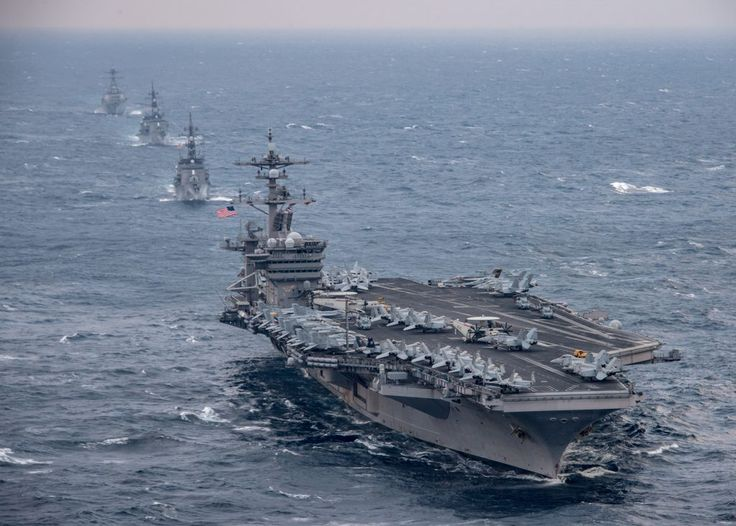 EAST CHINA SEA: The aircraft carrier USS Carl Vinson (CVN 70), foreground, transits the East China Sea with the Japan Maritime Self-Defense Force Takanami-class destroyer JS Sazanami (DD 113), the Japan Maritime Self-Defense Force Murasame-class destroyer JS Samidare (DD 106)and the Arleigh Burke-class guided-missile destroyer USS Wayne E. Meyer (DDG 108). (U.S. Navy photo by Mass Communication Specialist 2nd Class Sean M. Castellano/Released)