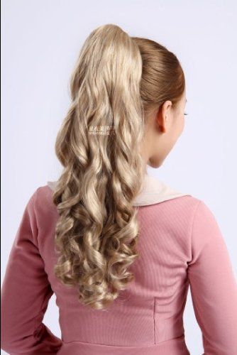 Long Light Blonde Wavy Curly Hairpiece Hair Claw Clip