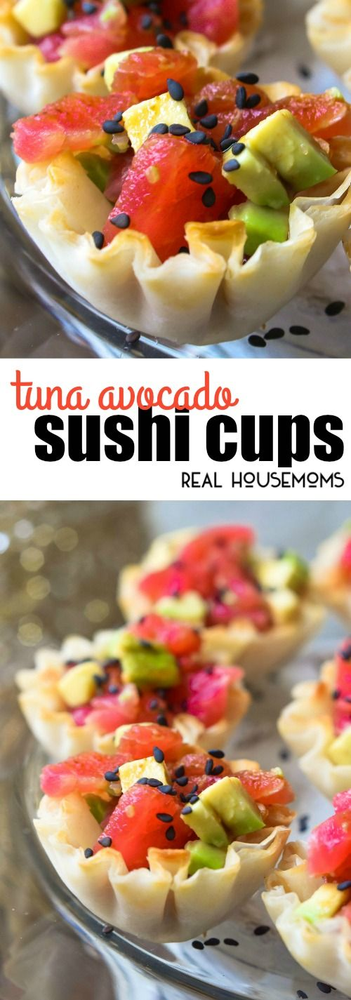 These tasty Tuna Avocado Sushi Cups are an easy appetizer with all the flavors of your favorite sushi roll! via @realhousemoms