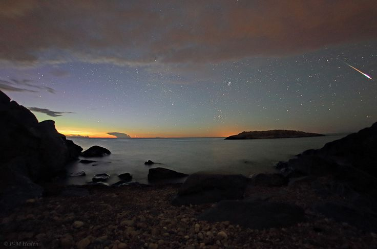 Astophotographer P-M Heden of the photography group The World at Night (TWAN) captured this image of a Perseid meteor soaring over the Baltic Sea on Aug. 12, 2013 from the eastern coast of Sweden near Stockholm.