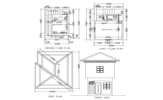 Floor Plan Of Gatehouse 3mtr X 4 5mtr With Elevation In Autocad In 2021 Floor Plans Autocad Open House Plans