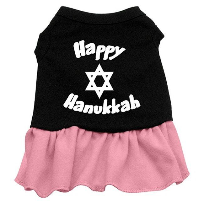Happy Hanukkah Dress from RadioFence.com. Dog holiday dress and cat holiday dress comes in 7 sizes and your choice of pink or red. $19.95 (http://www.radiofence.com/happy-hanukkah-dog-dress/)