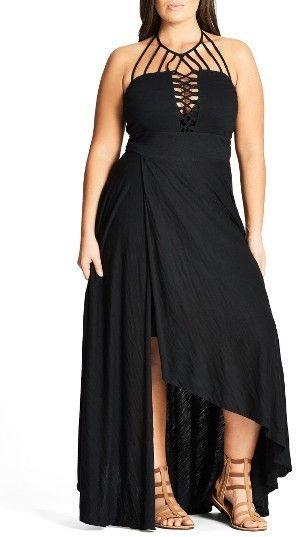 Plus Size Women's City Chic Strappy Asymmetrical Faux Wrap Halter Maxi Dress