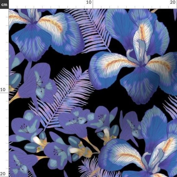 Moody Blue Floral Illustration Floral Fabric Moody Iris By Fvo Design Floral Blue Pattern Cotton In 2019 Floral Illustrations Floral Fabric Pattern