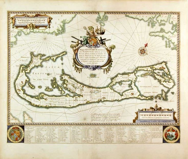 Bermuda, Willem Blaeu.  A splendid cartouche shows Neptune astride the Royal Arms holding a ship. The miniature map below the cartouche shows the correct proportion of the island to the coast of the mainland. Further adorned with scale cartouches, coats of arms and compass rose with a fleur-de-lys.