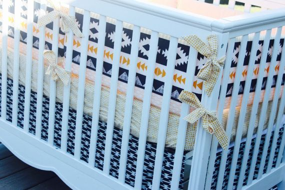 Custom #AztecStyle Southwestern Baby Bedding by #SewInLoveWithBaby