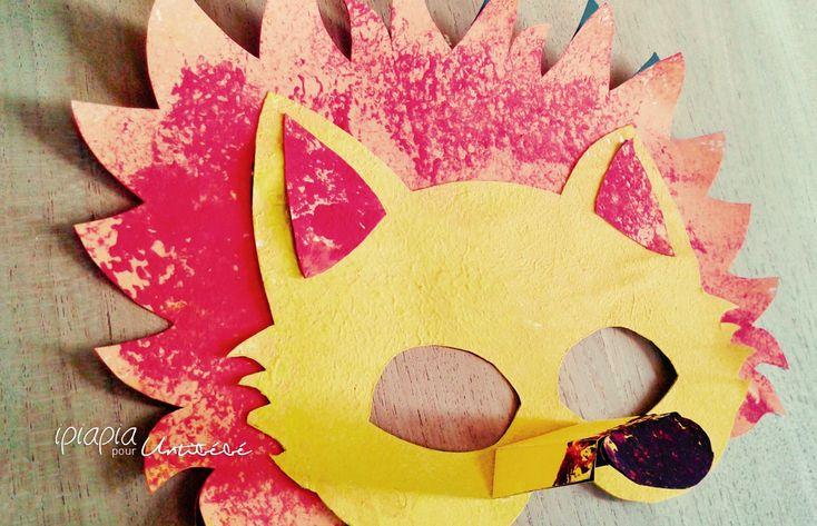 ©ipiapia pour Untibébé Diy masque de lion pour carnaval. Peinture à l'éponge.