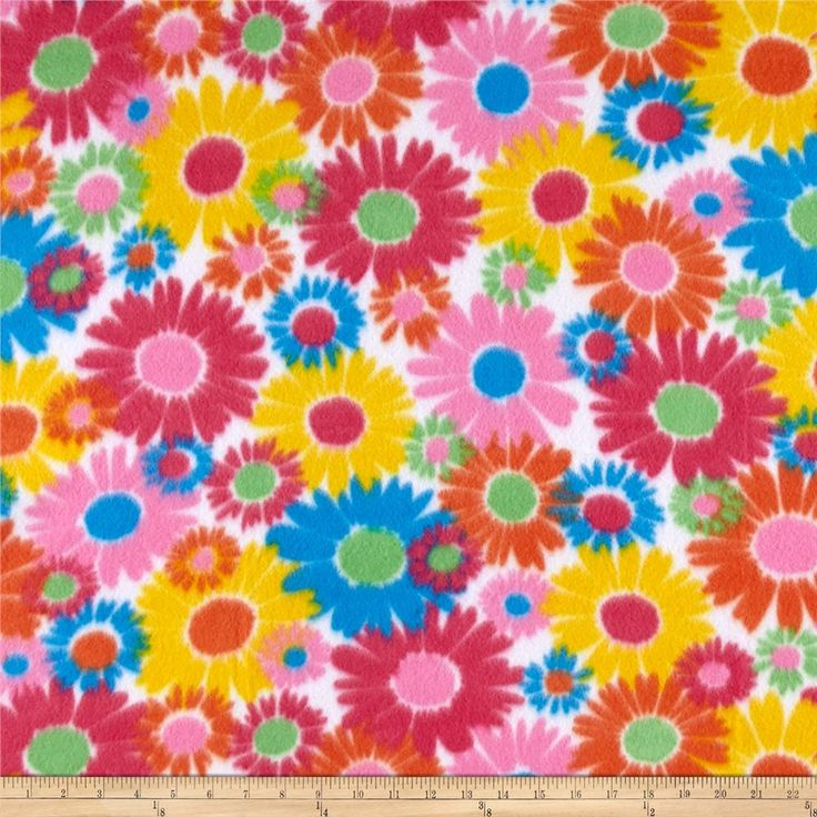 Polar Fleece Print Anouk Flower Power Blue from @fabricdotcom  This medium weight fleece is anti-pill and ultra soft. It is perfect for creating jackets, vests, scarves, mittens, throws and more! Colors include shades of pink, yellow, orange, green, blue and white.