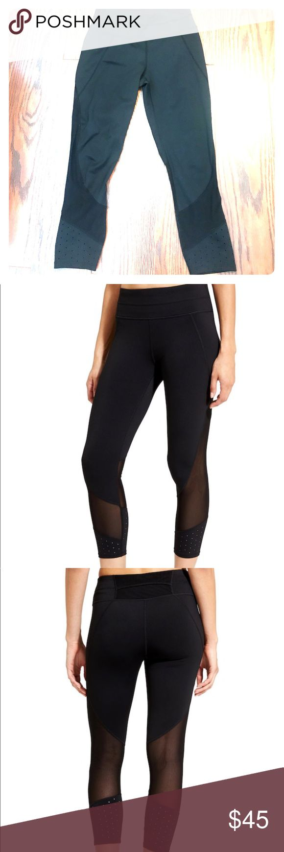 Athleta Laser Mesh Sonar Tight Lightly worn, super sleek, wicking compression capri with a beyond-flattering fit and laser-cut mesh ventilation for your every run and training session. INSPIRED FOR: gym/training, run, studio workouts Ultra-comfortable wide waistband, hidden key pocket, rear mesh-lined pocket NEVEREND DRAWSTRING. Fully adjustable continuous loop never gets lost in the wash Laser-cut mesh ventilation at lower leg lets sweat escape, minimal seams reduce chafe Breathable…