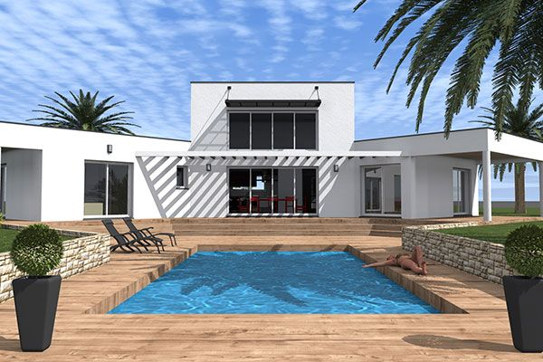 <div><b>Maison contemporaine de plain pied de type 5</b></div><div>1 suite parentale - 3 chambres - terrasses - Garage</div><div>Surface Habitable: 126m² / Surface annexe: 85m²</div><div><br/></div>