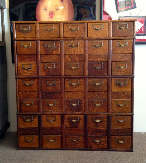 Vintage Oak Globe 35 Drawer Library Card Catalog Storage Cabinet