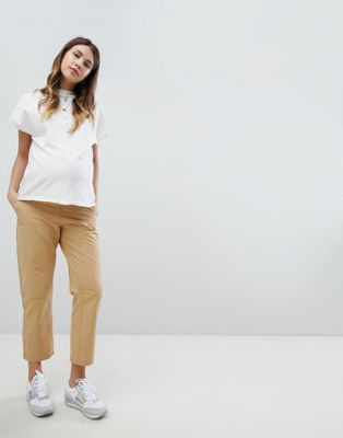 7830483e61bec Shop ASOS DESIGN Maternity canvas cargo pants in sand with under the bump  waistband at ASOS. Discover fashion online.