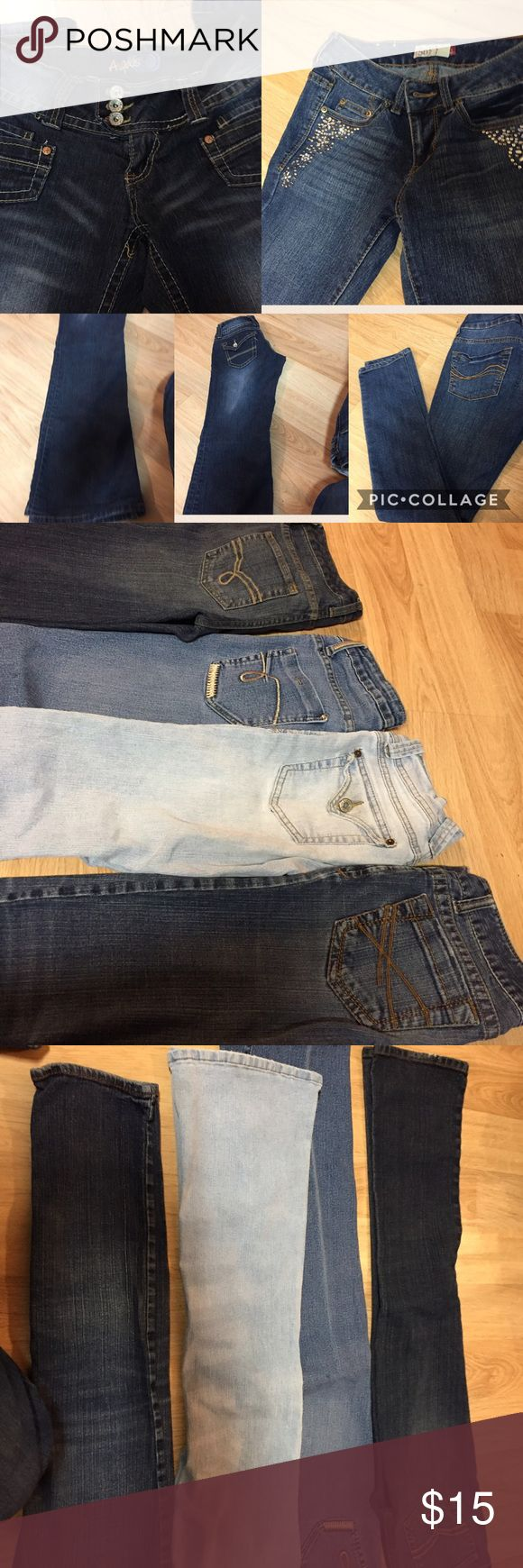 (4) jeans size 1/2 • Angels•Aeropostale•amer rag• American Rag bootcut 1S #1 in pic ••Angels bootcut 1 reg#3 in pic light colored ••Bubblegum straight 1/2 #2 in pic •Aeropostale skinny 1/2 S #4 in pic Angels Jeans Skinny