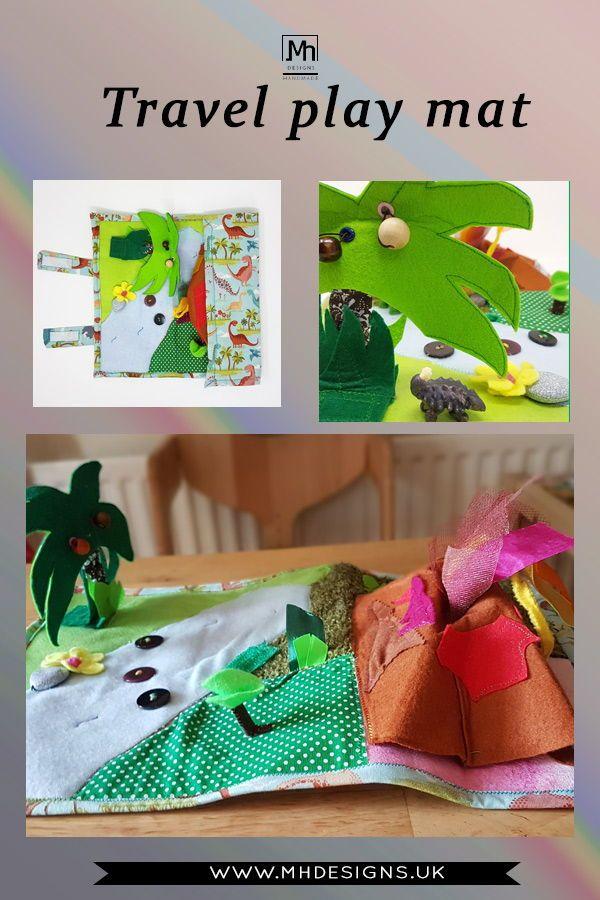 Dinosaur Land Play Mat Roll Up Quiet Play Mat Quiet Book Etsy Dinosaur Play Play Mat Imaginative Play