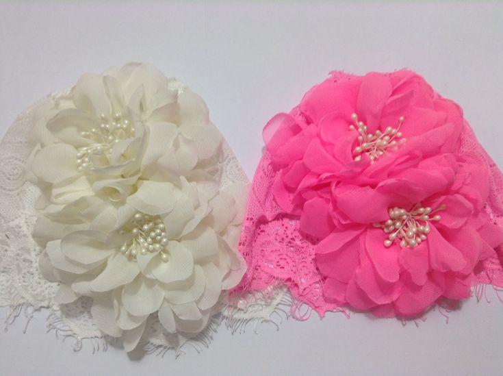 Flor grande de tela de gasa en rosa neon VIDEO No. 334