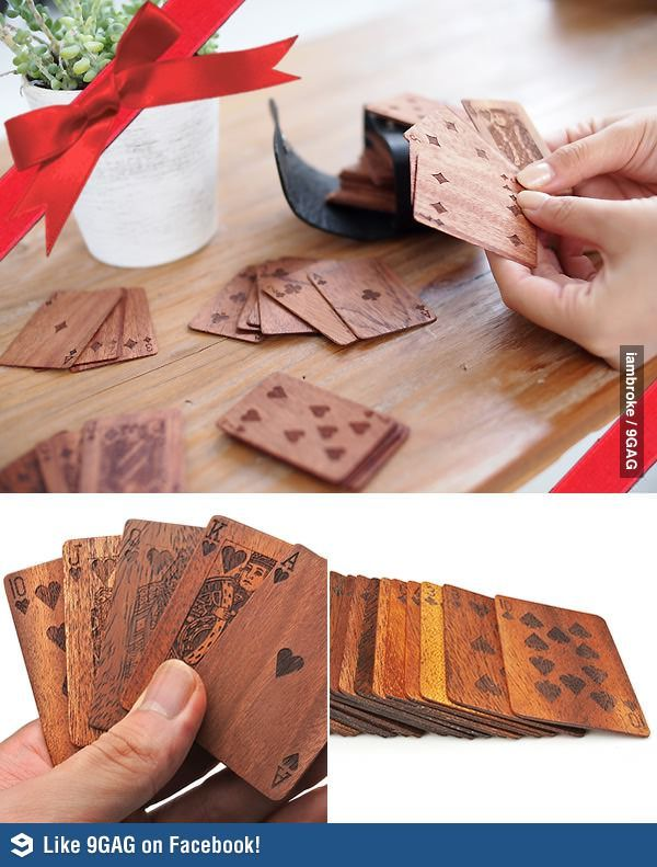 Wood playing cards can't blow away perfect for outside and camping!!!