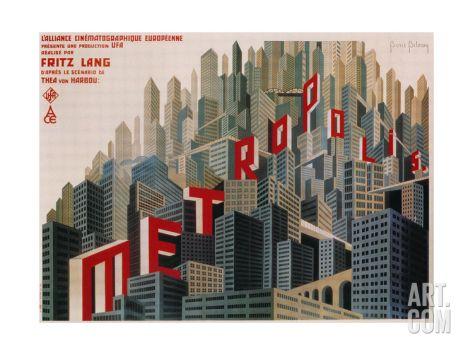 Metropolis, French Movie Poster, 1926 Print