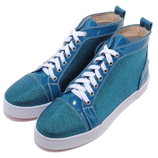 Christian Louboutin Louis Strass High Top Sneakers Blue3 on the lookout for limited offer,no duty and free shipping.#shoes #womenstyle #heels #womenheels #womenshoes  #fashionheels #redheels #louboutin #louboutinheels #christanlouboutinshoes #louboutinworld
