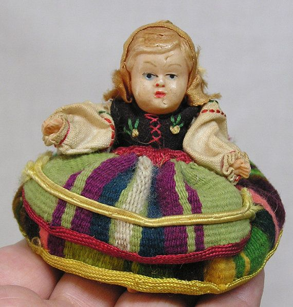Vintage Seated Celluloid Miniature Doll by 6thAvenueCollection