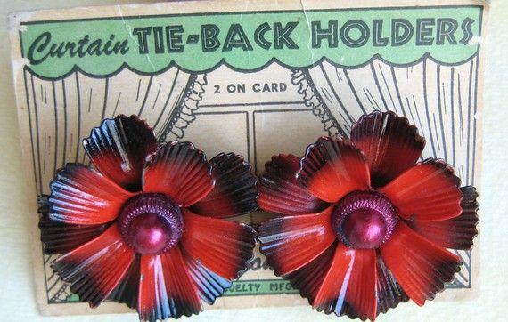 Vintage Curtain Tie Tack Pins Red Painted Metal Flower